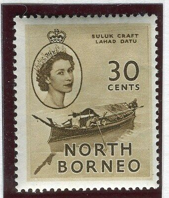 NORTH BORNEO;   1954 early QEII issue fine Mint hinged 30c. value