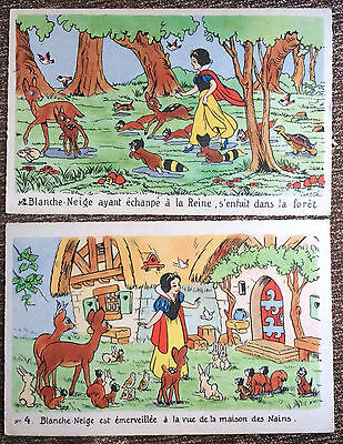 Lot of 2, WALT DISNEY'S Snow White, FRENCH Post Card, ANIMALS, Cottages