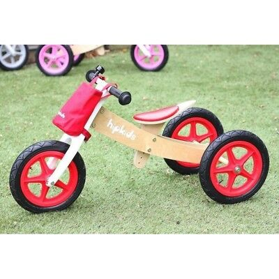 Hip Kids 2 in 1 Red Wooden Tricycle Balance Bike Children Toddler Bicycle Trike