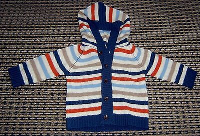 Bebe By Minihaha Boys Hooded Wool Cardigan  Sz 00 (6 Months) Like New