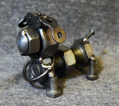 Recycled Scrap Metal Art Hand Crafted Sculpture Figurine Bolt Dog
