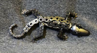 Recycled Scrap Metal Art Hand Crafted Sculpture Figurine Gecko Lizard