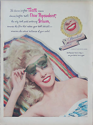 Original Vintage Pepsodent Glamour Girl Art Print Ad 1940s