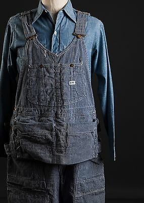 Vintage Lee Button-Fly Hickory Stripe Overalls Made in USA 42x42.5