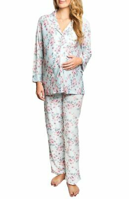 Everly Grey  During & After Maternity Nursing Helena Blue Sleepwear Pajama Set