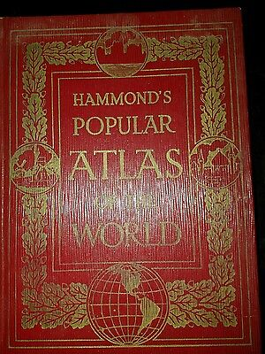 RARE Hammond's Popular Atlas of the World 1934 + Gazetteer of Cities + Census
