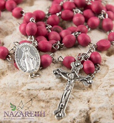 Rose Smell Rosary Petal Red Carved Beads Miraculous Medal & Cross Jerusalem