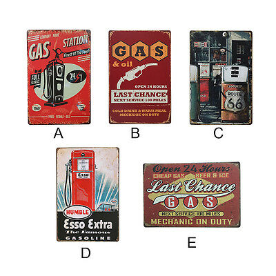 Retro Metal Tin Gas Station Painting Signs Plaque Poster Bar Pub Club Wall Decor
