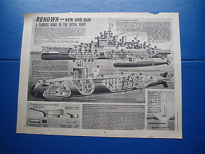 Eagle Cutaway Drawing 15/4/1967 Polaris Submarine Renown & Battle Cruiser Renown