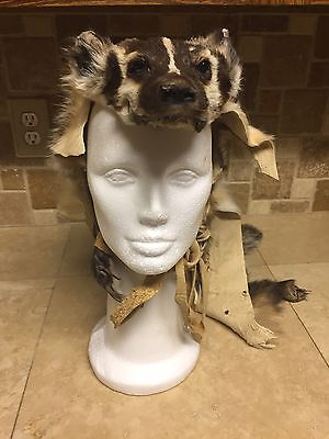Badger Headdress Native American Made Warbonnet Mountain Man all paws claws