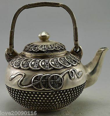Collectible Decorated Old Handwork Silver Plate Copper Bring Money Coin Tea Pot