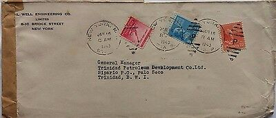 United States 1943 Cover To Trinidad Petrol Co Sipario Pmk & Officially Sealed