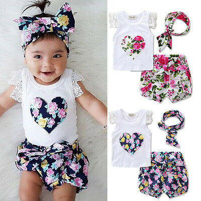 Princess Baby Girl Lace Tops T-shirt+Floral Shorts Pants Outfits Set Clothes UK