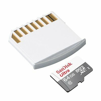 64GB SanDisk  Ultra 48MB/s Class 10 Micro SD SDXC Memory Card + Macbook adp S