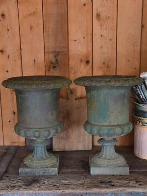 Pair of antique French Medici urns dark green patina - 19th century garden urns