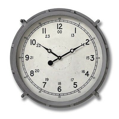 Large Round Vintage Antique Style Grey Drum Retro Wall Clock (H18081) 49cm