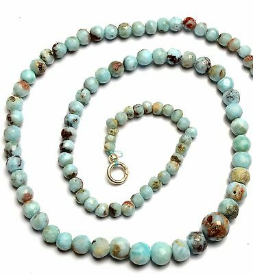 Natural Rare Gemstone Larimar 4 to 7MM Size Faceted Round Beads 16 Inch Necklace