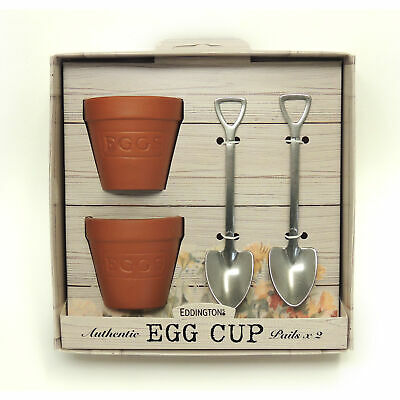 Eddingtons Flower Pot Set 2 Egg Cups And Spoons - Easter Egg Pail/Buckets&Shovel