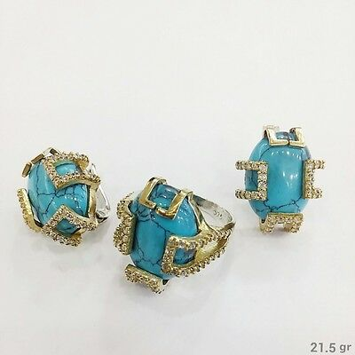 Sterling 925 Silver Handmade Jewelry Fabulous Turquoise Earrings & Ring Set