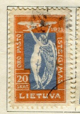 LITHUANIA;  1921 early Air pictorial issue fine used 20s. value