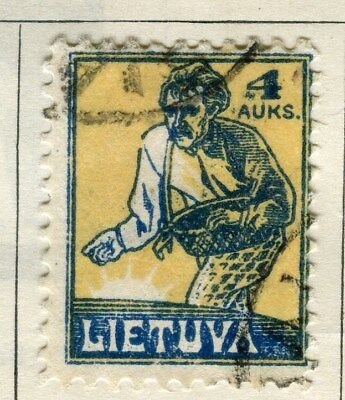 LITHUANIA;    1921-22 early pictorial issue fine used 4a. value