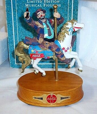 """Coca Cola Emmett Kelly """"play Refreshed"""" Carousel Horse Wind-Up Musical Figurine"""