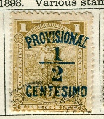 URUGUAY;  1898 early Provisional surcharged issue 1/2c. used value