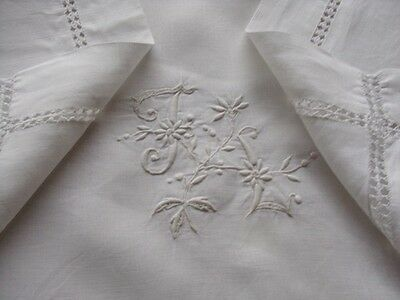 FRENCH OLD LINEN - beautiful pur linen pillowcase embroidered - N0004