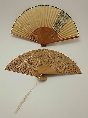 VTG- Chinese Hand Crafted Carved Wood Brise Fan LOT of 2 Pieces