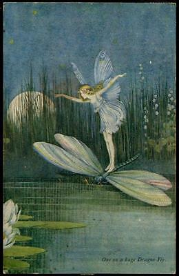VIntage Ida Rentoul Outhwaite PPC - One on a Hige Dragon-Fly - Fairy, Lillies
