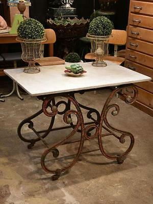 Antique French butcher's table with marble top