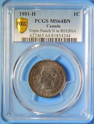 1881 H Canada Triple Punch N in REGINA Large One Cent Victoria Coin PCGS MS64