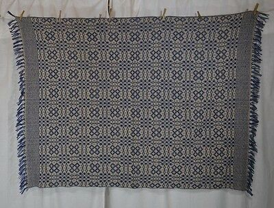 coverlet overshot throw woven blue white wool 56x72 Churchill replica
