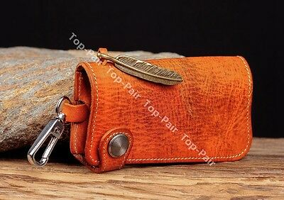 C91 Orange Handcraft Real Leather Key Holder Key Ring Chain Car Remote Key Case