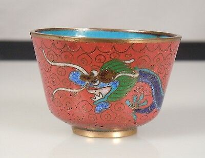 Chinese Cloisonne Tea Cup -Red Dragon-          086