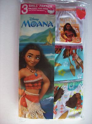 Moana Underwear Underpants Girls 3 Panties Sz 4 Disney Asst'd Design NIP