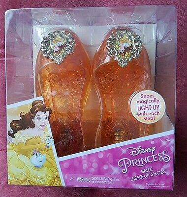 Disney Princess Belle Light-Up Glitter Shoes Brand New In Box.