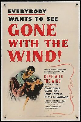 Gone With the Wind, original 1sheet poster, Clark Gable, Vivien Leigh, 1947