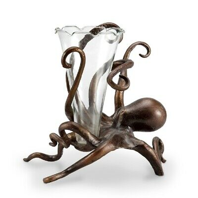 Octopus Bud Vase Flower Holder Metal Base Coastal Nautical Ocean Sea Life Decor