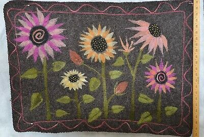 wool felted roving needle felted wall hanging OOAK  24 x 32 hand made floral