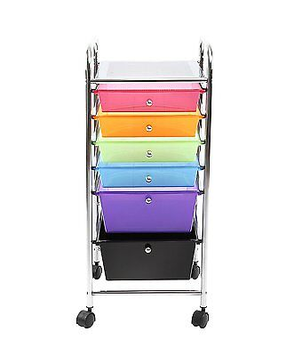 Finnhomy 6 Drawer Rolling Cart,Storage Rolling Carts with Semi-transparent Mutli