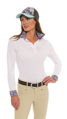 Kerrits Tailor Stretch Show Shirt - Ladies - Wrap Neck - White - Diff Sizes