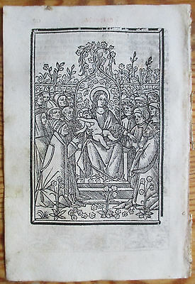Post Incunable Leaf Breviary Brevarium Full Page Woodcut Virgin Mary Child 1508