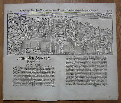 MÜNSTER/MUNSTER: Cosmographia Large Town View of Jerusalem - 1592