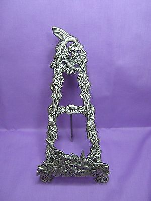 Collectable Pewter Hummingbird Plate Holder/Stand