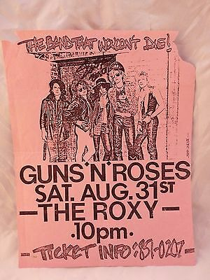 Guns & Roses ORIGINAL Aug 31st 1985 The Roxy Concert Flyer Poster Slash Signed
