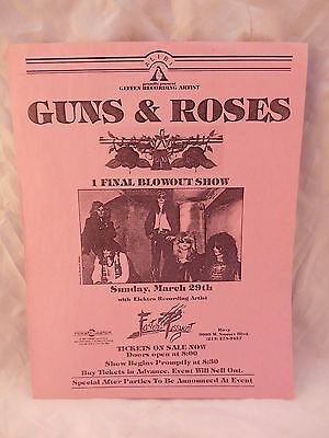Guns & Roses Early ORIGINAL March 29 1987 The Roxy Concert Flyer Poster Axl Rose