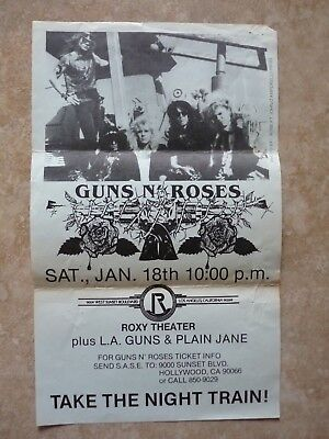 Guns & Roses Early ORIGINAL Jan 18th 1986 The Roxy Concert Flyer Poster