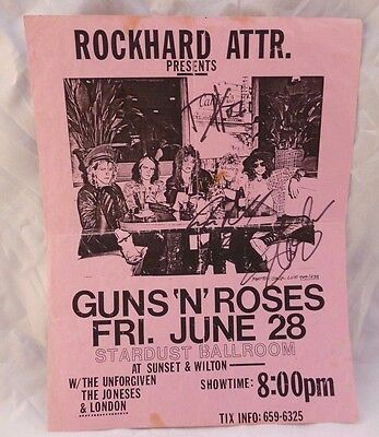 Guns Roses June 28 1985 Stardust Ballroom Concert Flyer Signed Slash Duff Steven