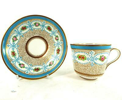 Antique 19Th Century Cup & Saucer Turquoise Gilt Vermicelli Minton Style